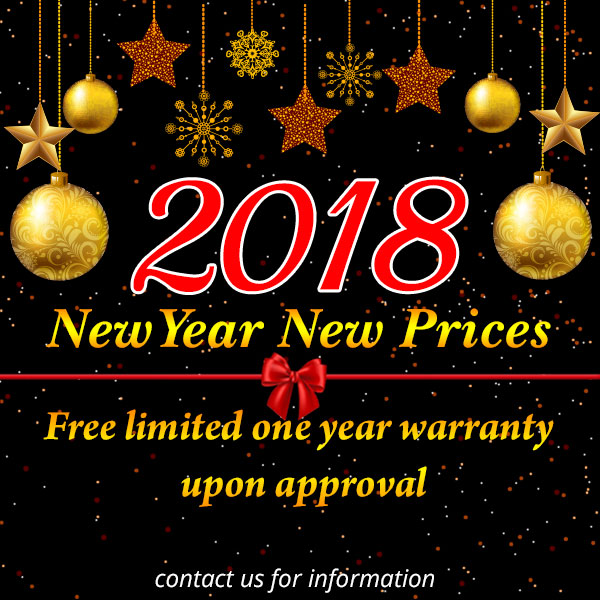 New year new prices Free limited one year warranty upon approval